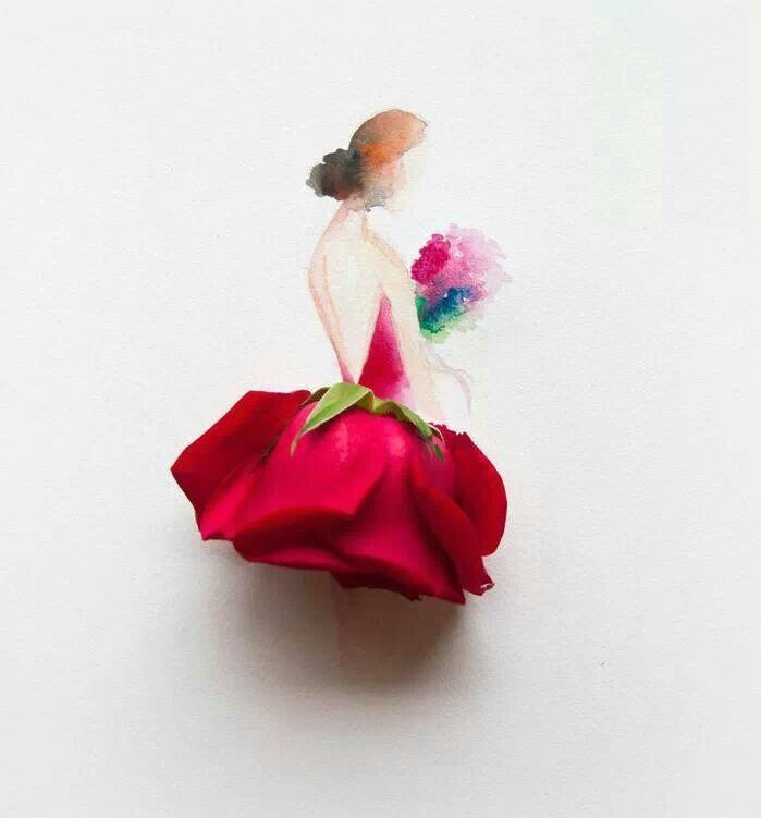 Drawn ballerine flower Dress Limzy fartsy art art