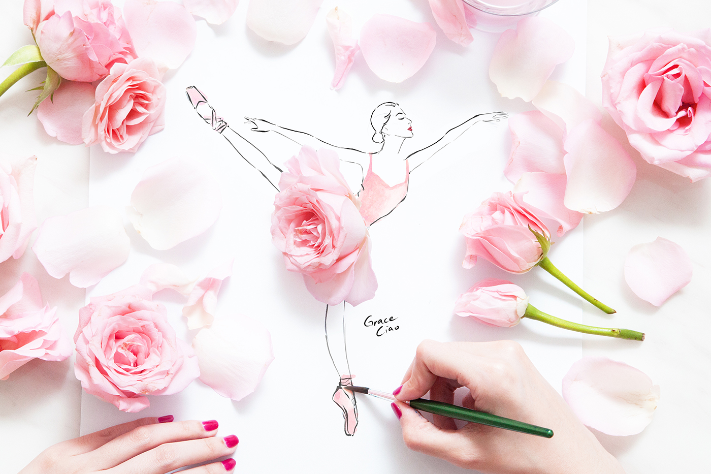 Drawn ballerine flower Grace Grace Ciao Ciao Illustrator