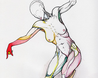 Drawn ballerine full body Female surrealist detailed Highly drawing