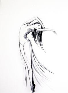 Drawn ballerine hair And Black Dancing Drawing Art