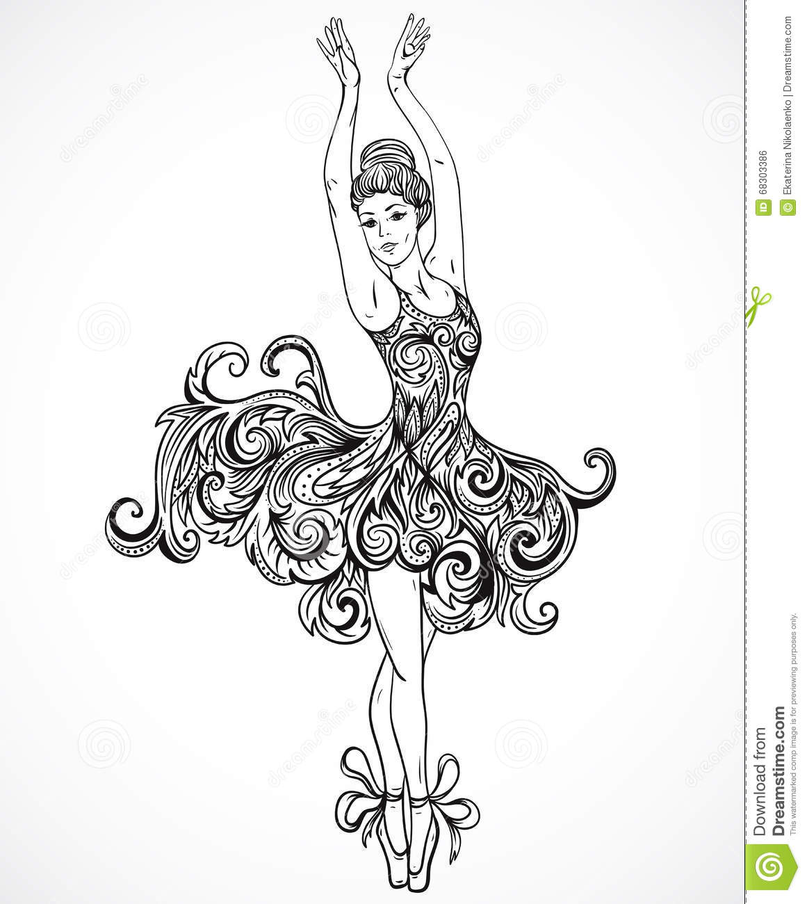 Drawn ballerine hand drawn Stock Vector of drawn Zen