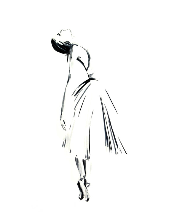 Drawn ballerine modern dancer Ink Minimalist Ballet Drawing Ink