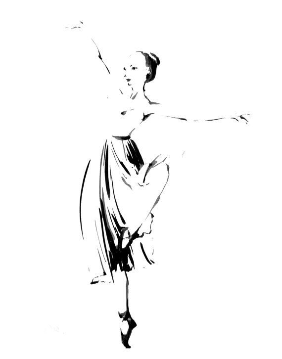 Drawn ballerine modern dancer Images Minimalist and Black Art