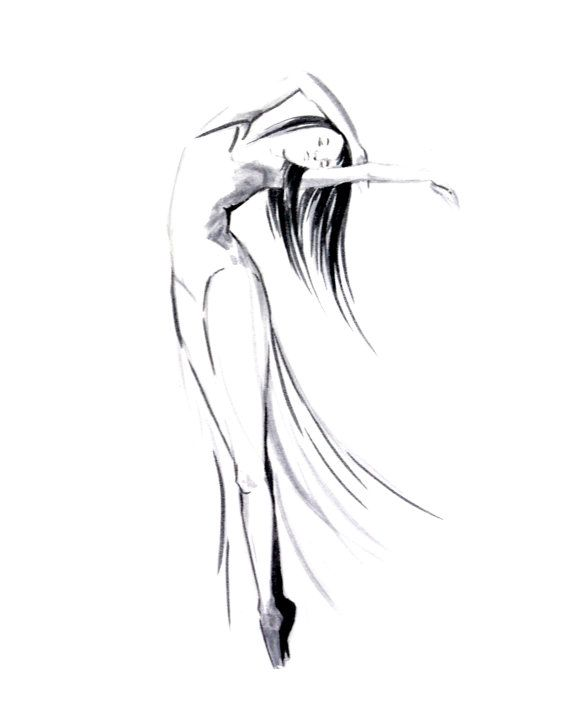 Drawn ballerine modern dancer Art drawing drawing ink on