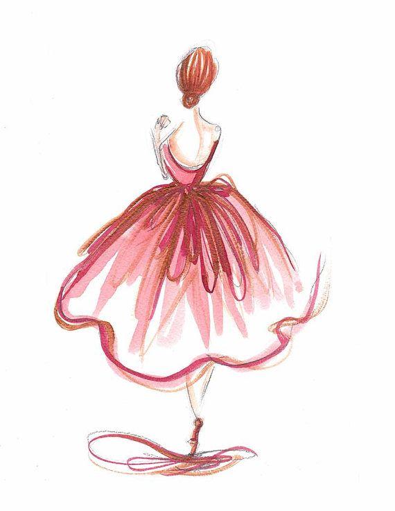 Drawn ballerina fashion illustration #7