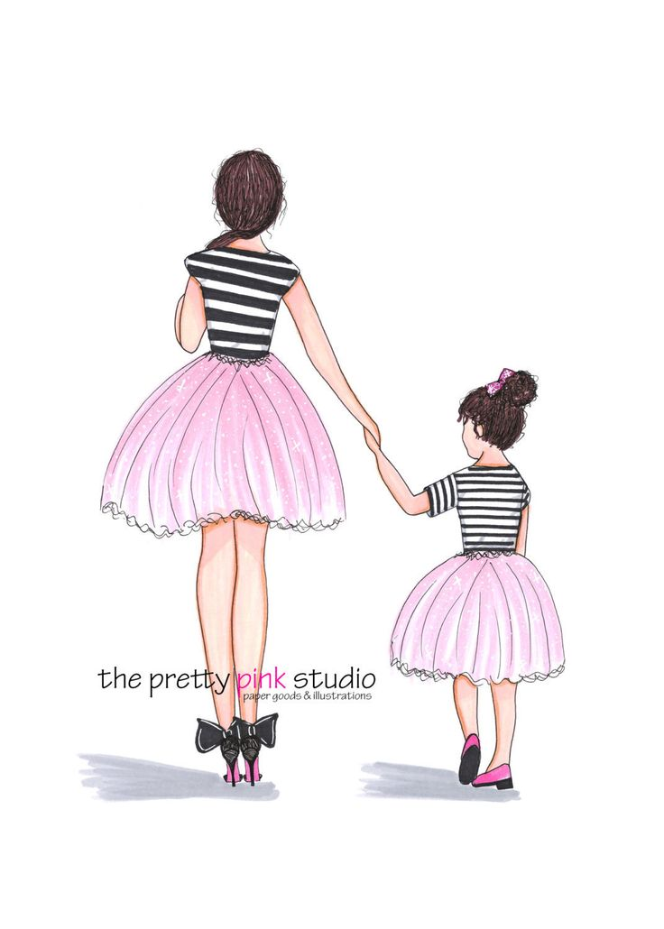 Drawn ballerina pink ballerina Fashion on decor print Girly