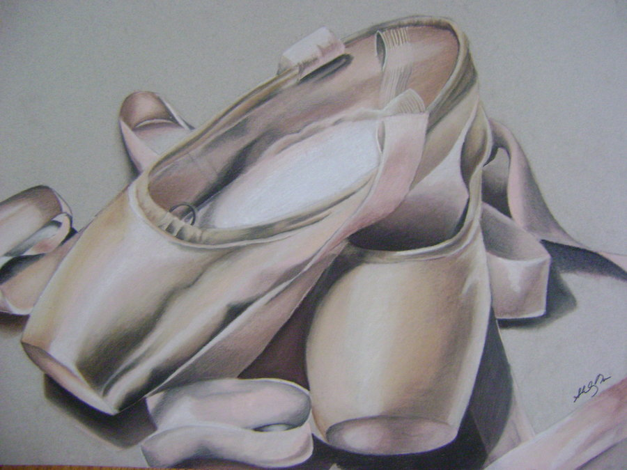Drawn ballerina pointe shoe 138 chaussons Shoes images shirley271