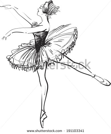A ballerina drawing on background