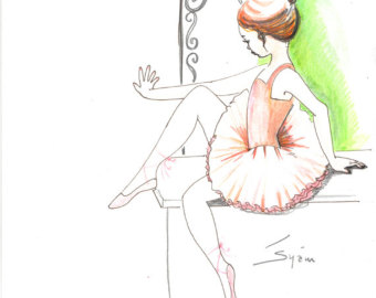 Drawn ballerine tutu Drawing in ballet watercolor pen