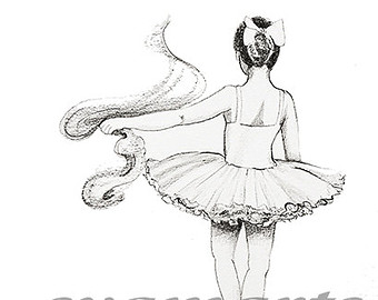 Drawn ballerine tutu Original drawing syamarts pencil dancer