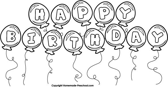 Black & White clipart birthday Balloons Birthday String Save Image