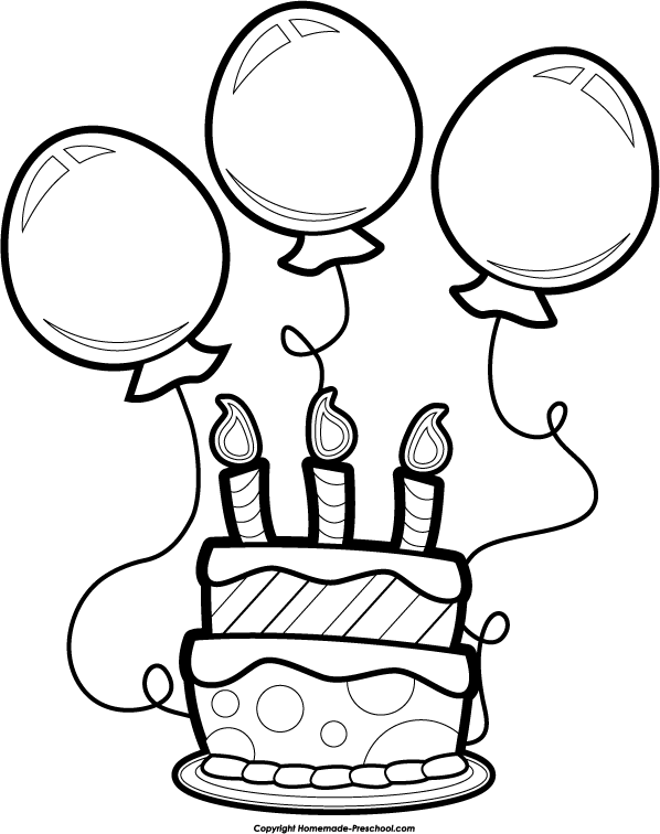 Black & White clipart birthday Free Birthday Save Image Balloons