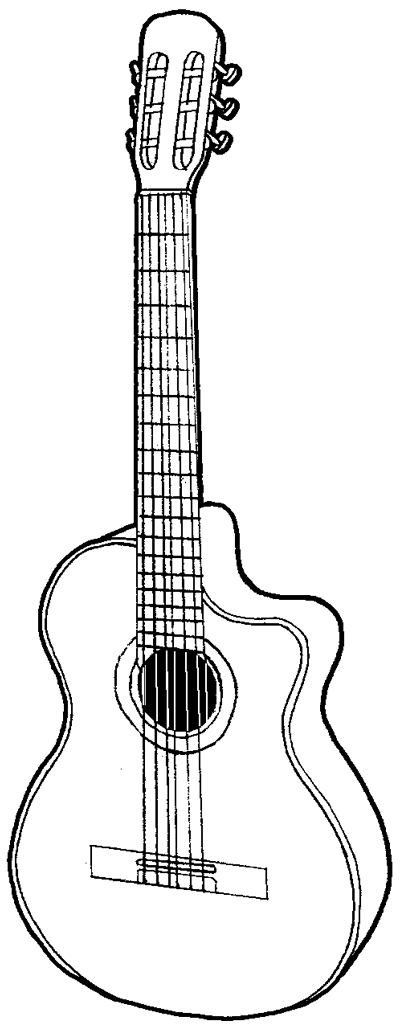 Drawn guitar illustration By Smokin caricature in guitar