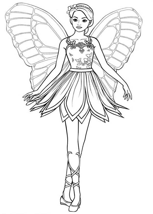 Drawn barbie barbie mariposa Colouring Drawing Page Happy Barbie