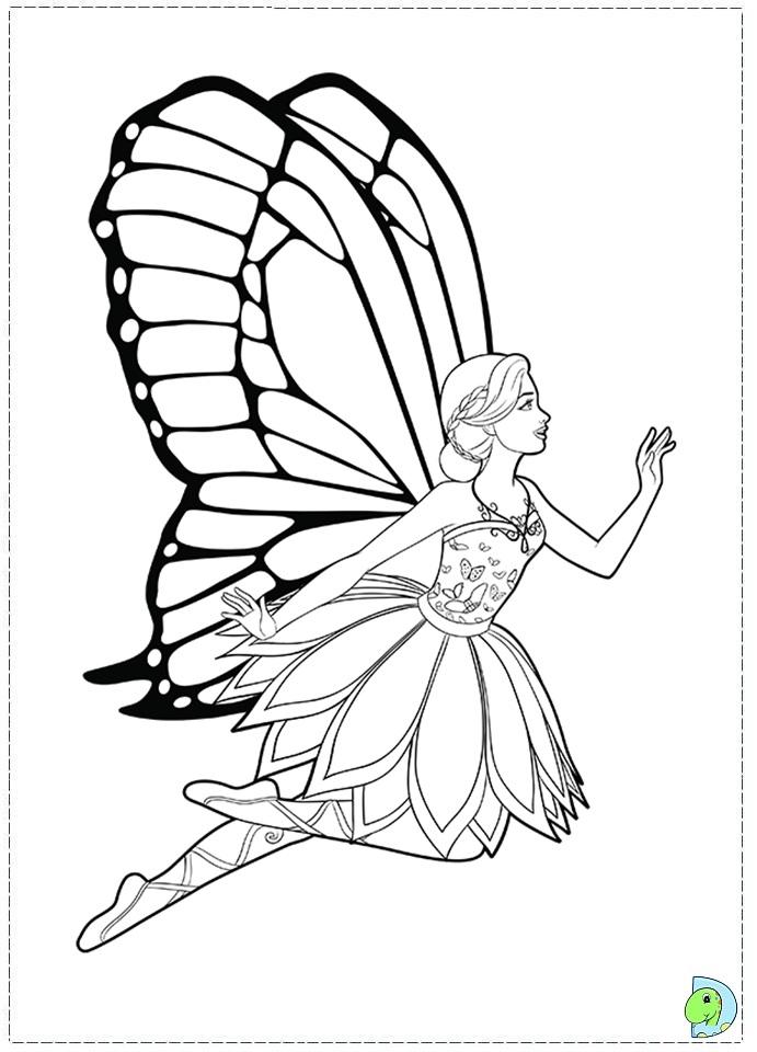 Drawn barbie barbie mariposa Princess Fairy coloring the Barbie