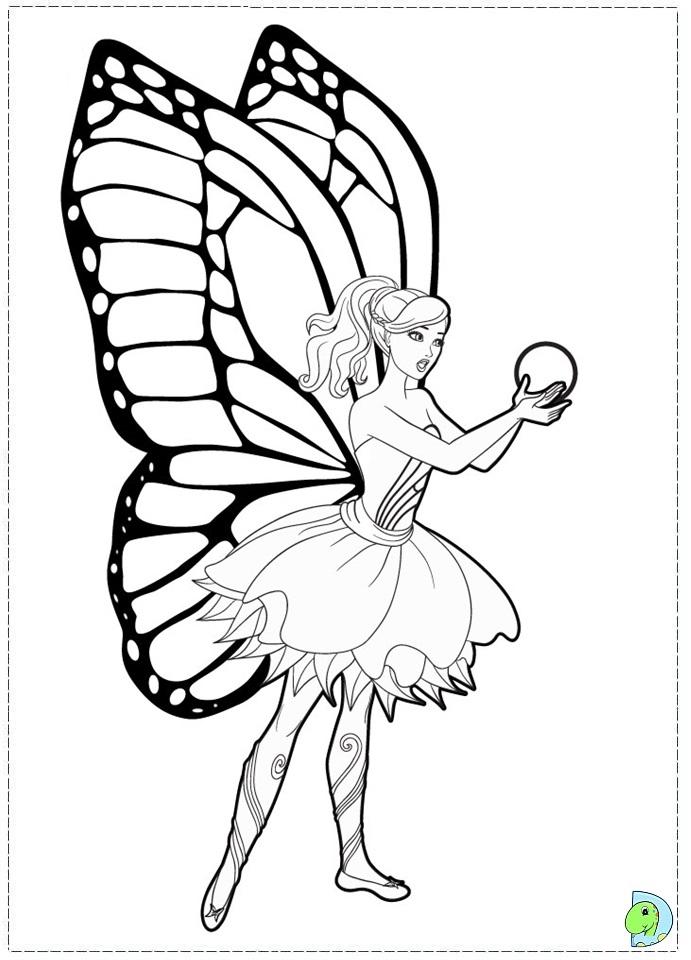 Drawn barbie barbie mariposa Fairy coloring coloring DinoKids the
