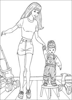 Drawn barbie cute With Baby and Coloring cartoon