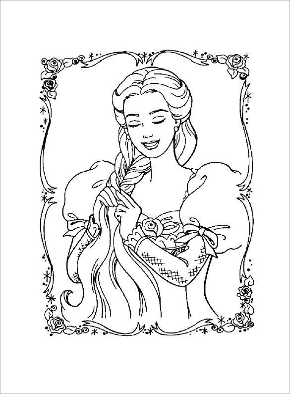 Drawn barbie flower Free Princess Pages  Printable
