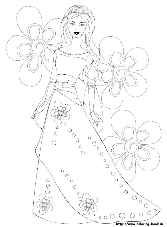 Drawn barbie flower Colouring Barbie Pages  Page