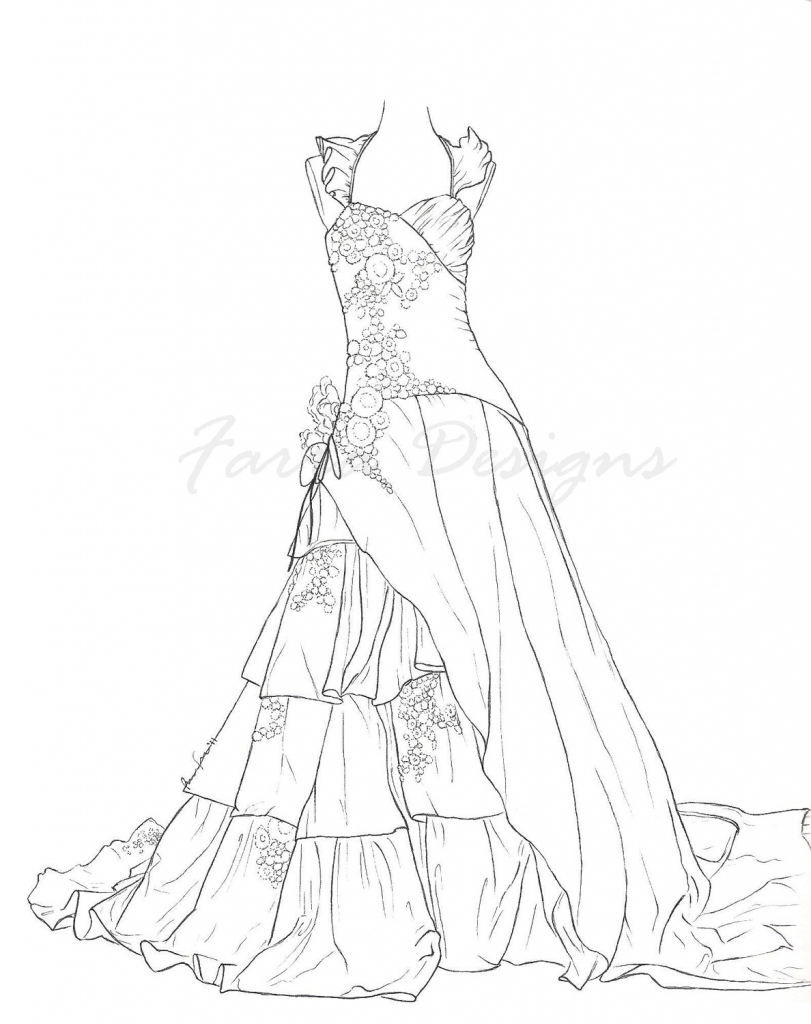 Drawn barbie frock Coloring Drawing Dress Dresses Pages