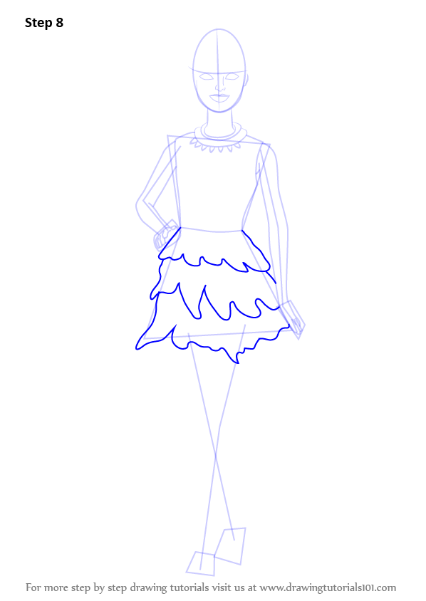 Drawn barbie frock In as Draw Step Skirt