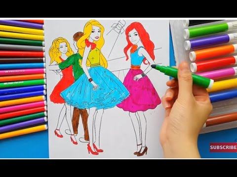 Drawn barbie frock Colorful Pages Color for in