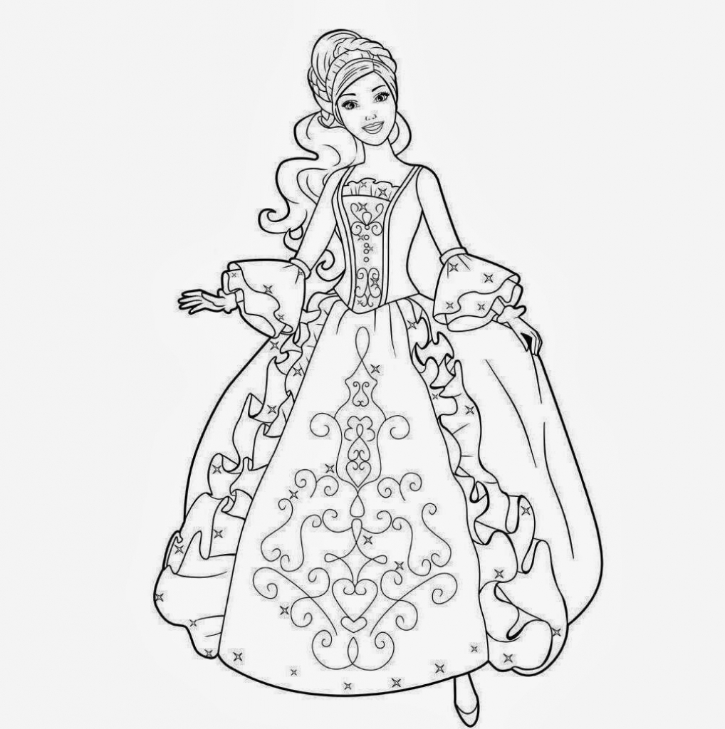 Drawn barbie gown wallpaper Dresses Colour Wallpaper Coloring Barbie