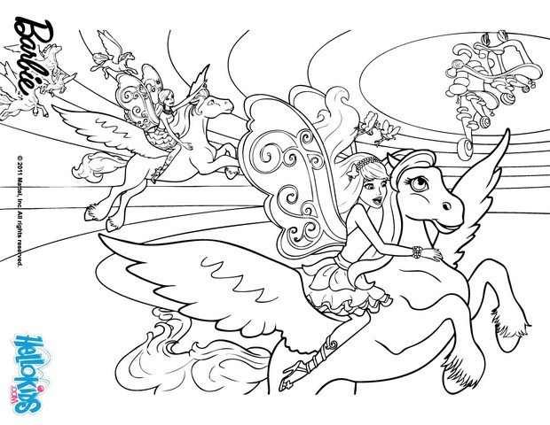 Drawn barbie horse Kids Coloring pages & printable