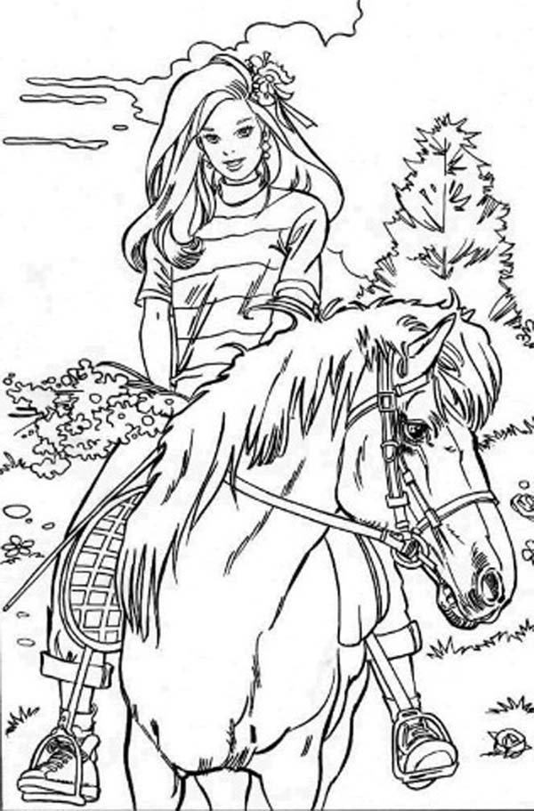 Drawn barbie horse Books For the  Coloring