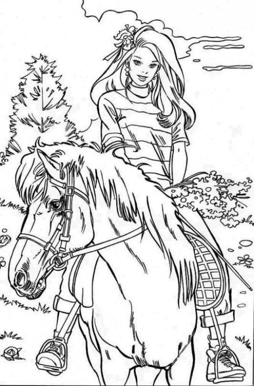 Drawn barbie horse Horses Printable Coloring  Horse