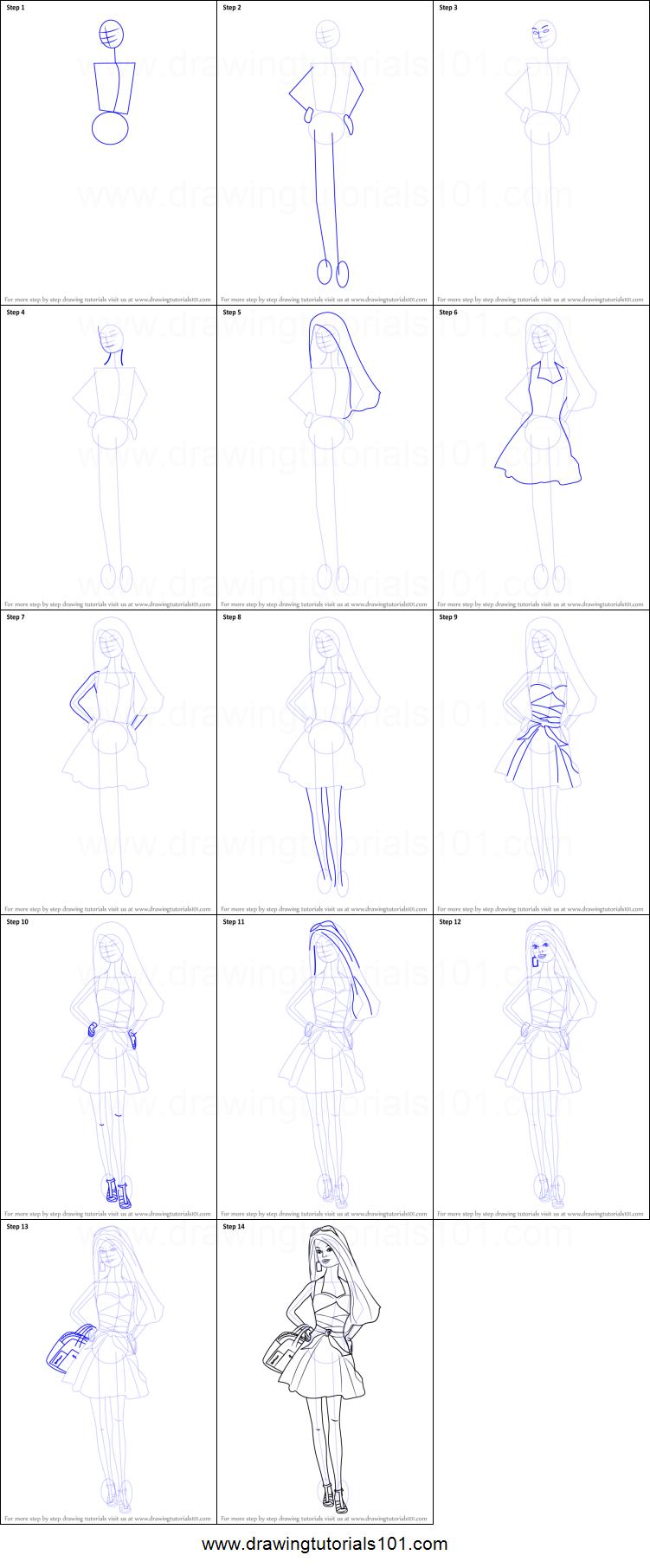 Drawn barbie step by step How printable  sheet Barbie