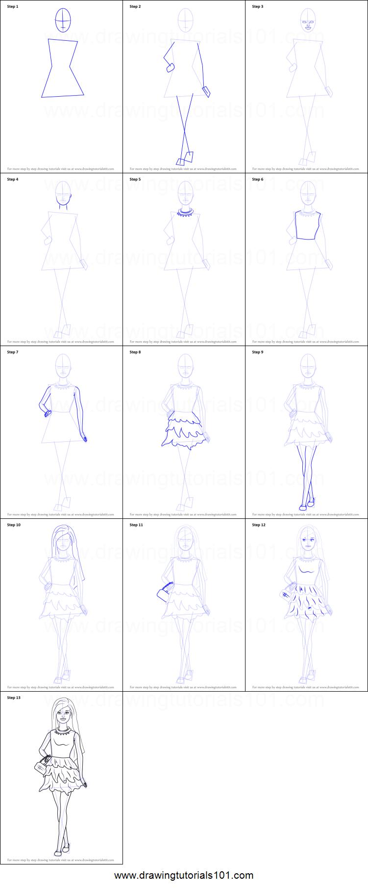 Drawn barbie step by step Skirt in drawing step Barbie