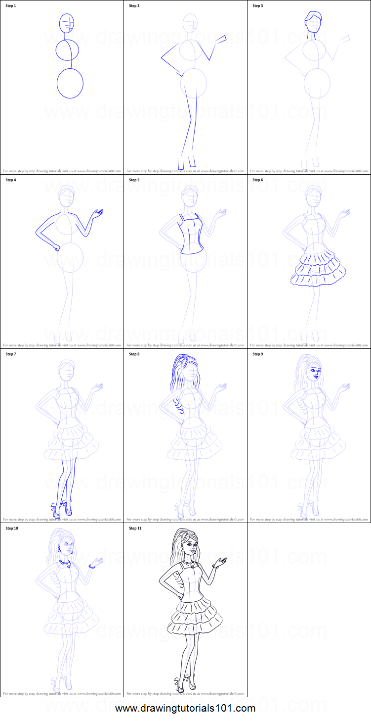 Drawn barbie step by step Life Draw the printable in