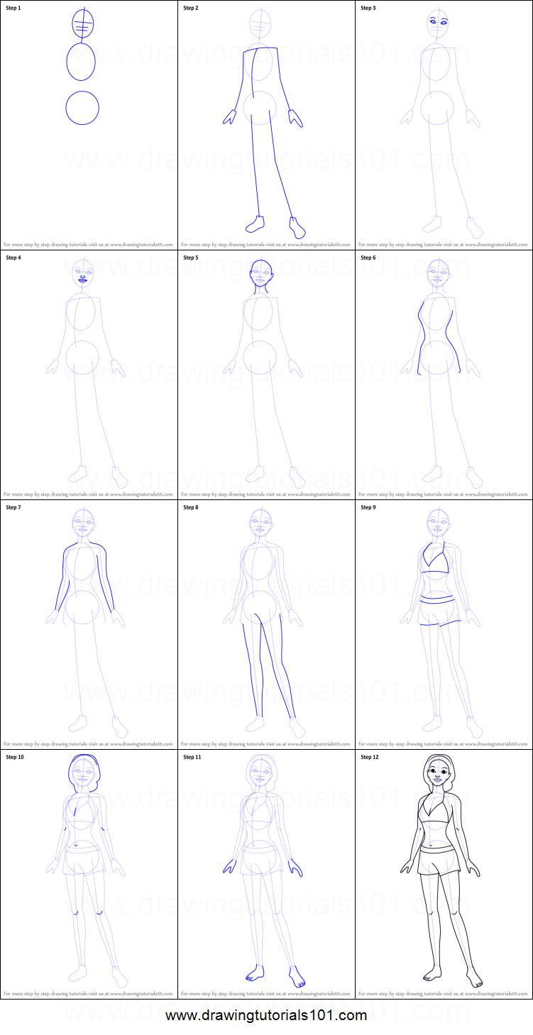 Drawn barbie step by step In Draw Mermaid printable by
