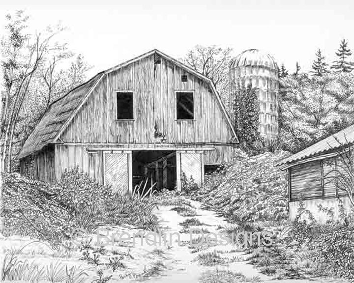 Structure clipart old barn Images drawings Ink barns bldg