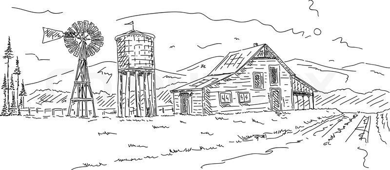 Drawn hosue cartooon Landscape Farm Father Barn Father