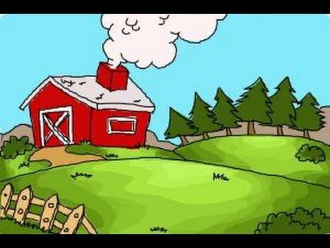 Drawn farm farmyard #12
