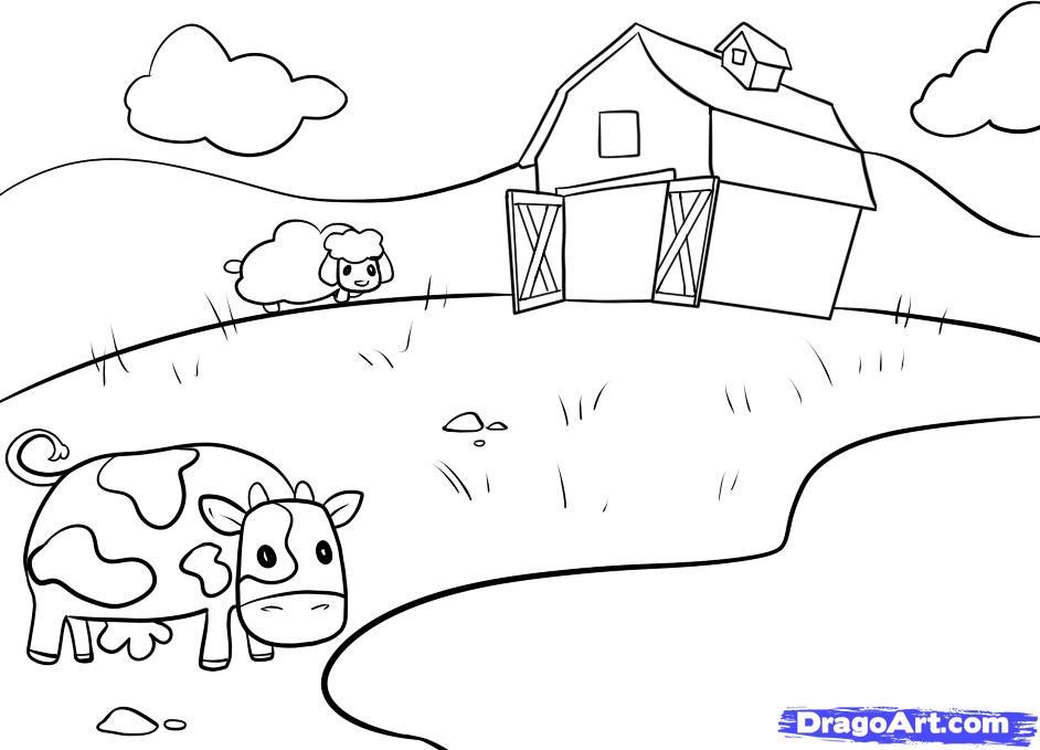 Drawn farm farmyard #13