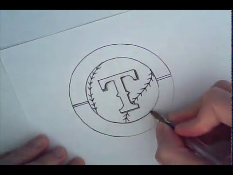 Drawn baseball baseball logo Rangers baseball Texas drawn) drawn)