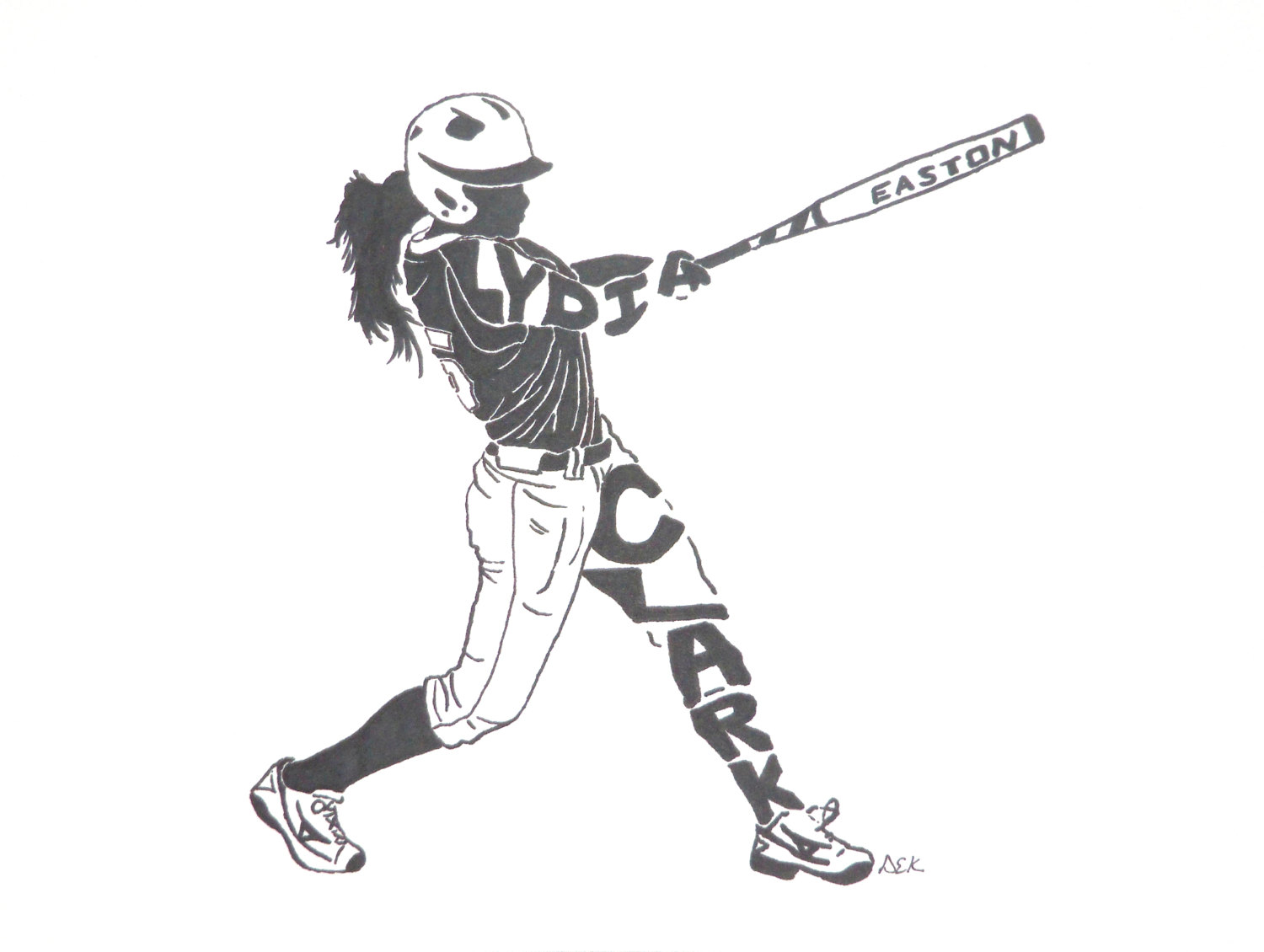 Drawn baseball softball  Softball Women's Silhouette