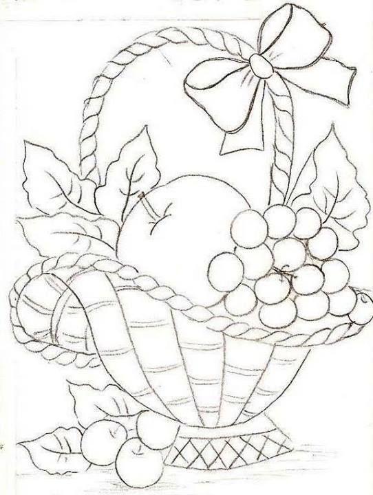 Drawn basket & on basket images fruit
