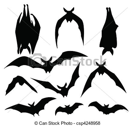 Bat clipart hang Of silhouette various Vector of