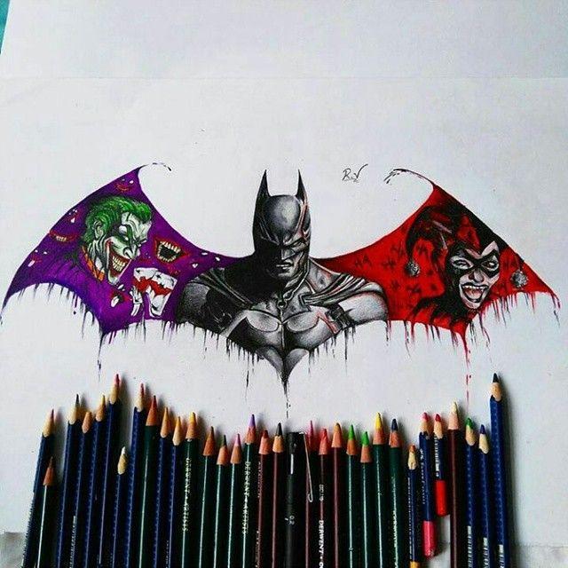 Drawn batman marvel ! _ The By KIK