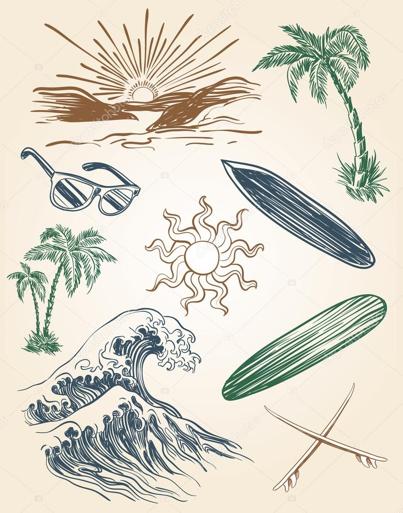Drawn beach Set and Stock surf —