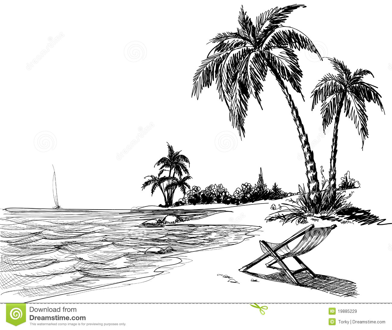 Drawn beach Pencil Palm Beach Tree Tree