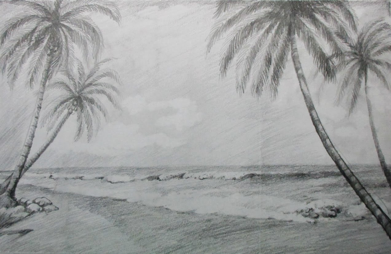 Drawn beach With a Beach Pencil Landscape