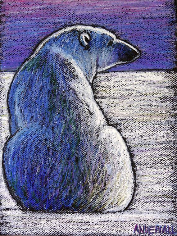 Drawn polar  bear arctic landscape 9x12 Painting Species Endangered Teaching