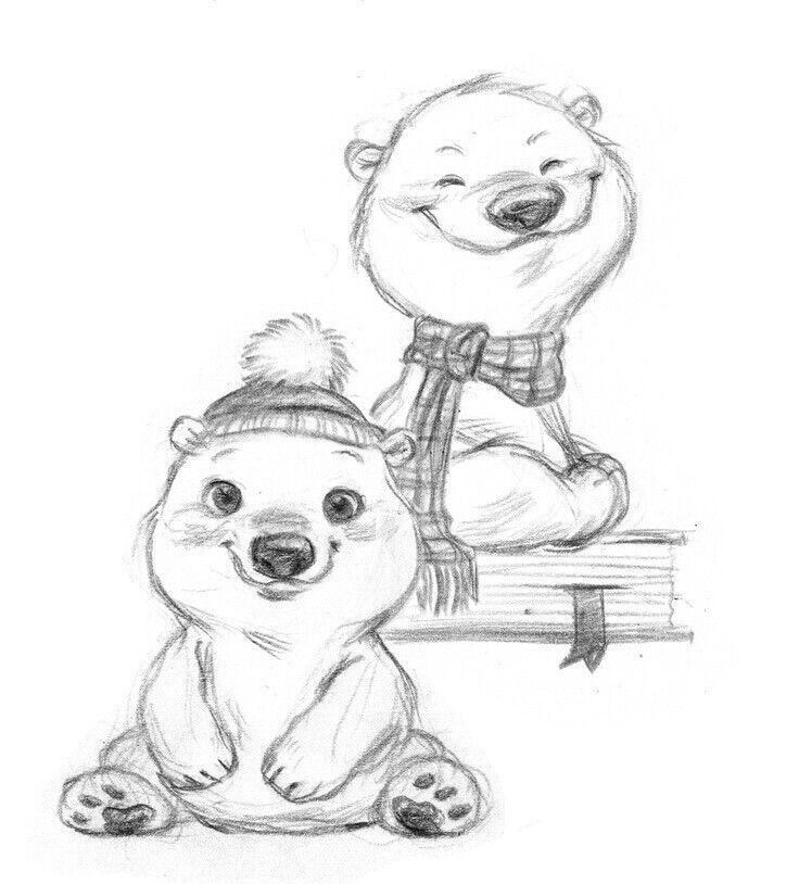 Drawn polar  bear adorable baby Ideas Bear cartoon drawing Pinterest