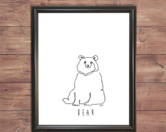Drawn tie father's day Line Bear drawing) (one line