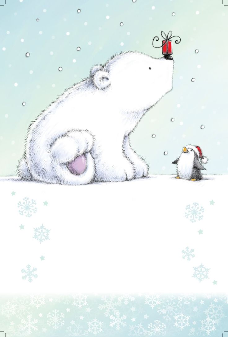 Drawn polar  bear cute winter #6